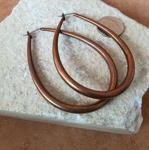 Copper oblong hoop earrings
